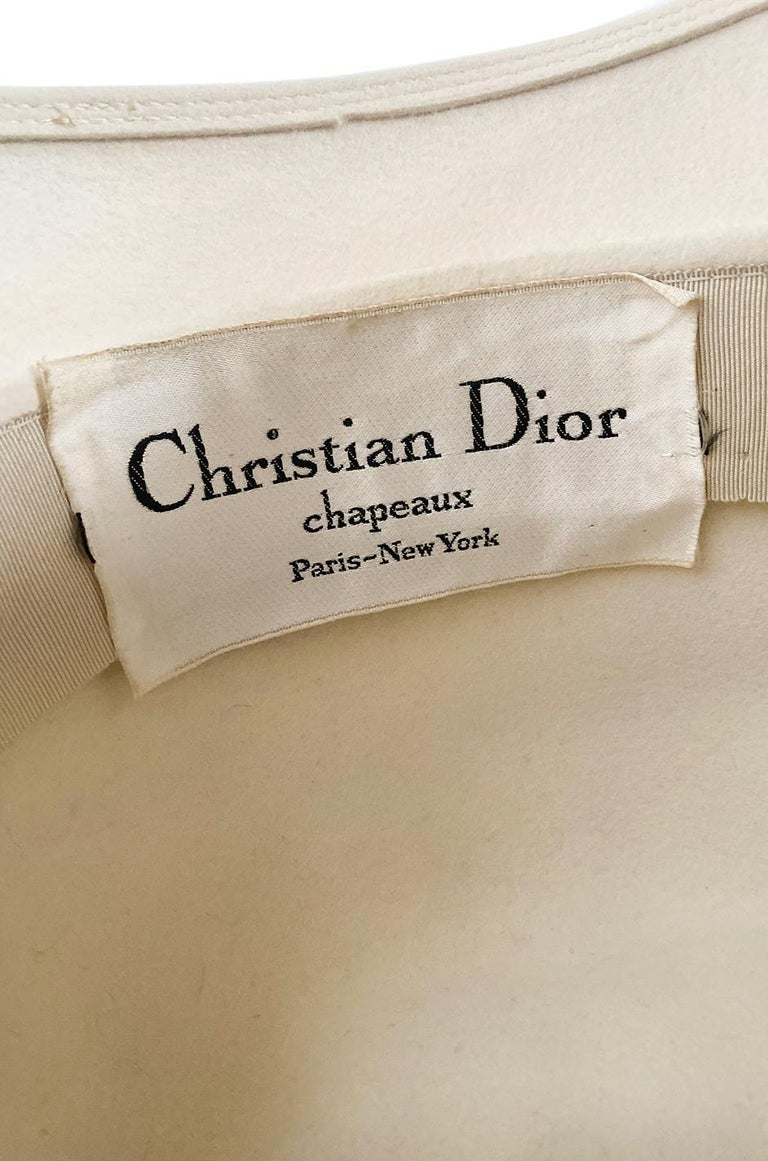 Incredible 1960s Christian Dior Gold Tipped Feather Brim Ivory Hat For Sale 3