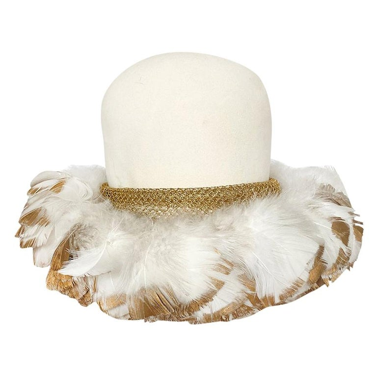 Incredible 1960s Christian Dior Gold Tipped Feather Brim Ivory Hat For Sale