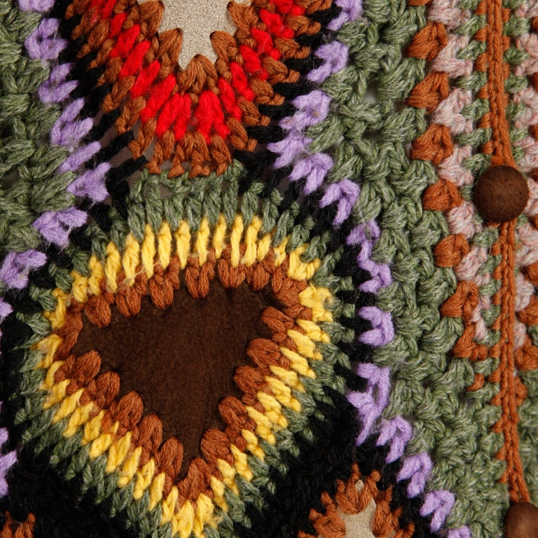 Incredible 1970s Vintage Hippie Boho Crochet Wool + Suede Leather Vest Jacket For Sale 5