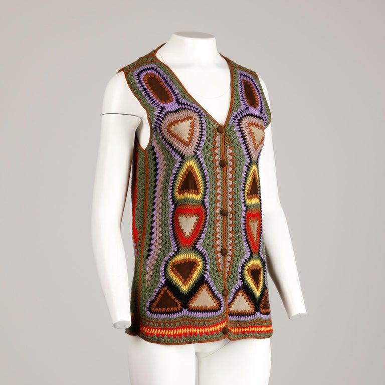 Incredible 1970s Vintage Hippie Boho Crochet Wool + Suede Leather Vest Jacket For Sale 6