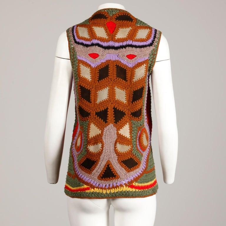 Brown Incredible 1970s Vintage Hippie Boho Crochet Wool + Suede Leather Vest Jacket For Sale