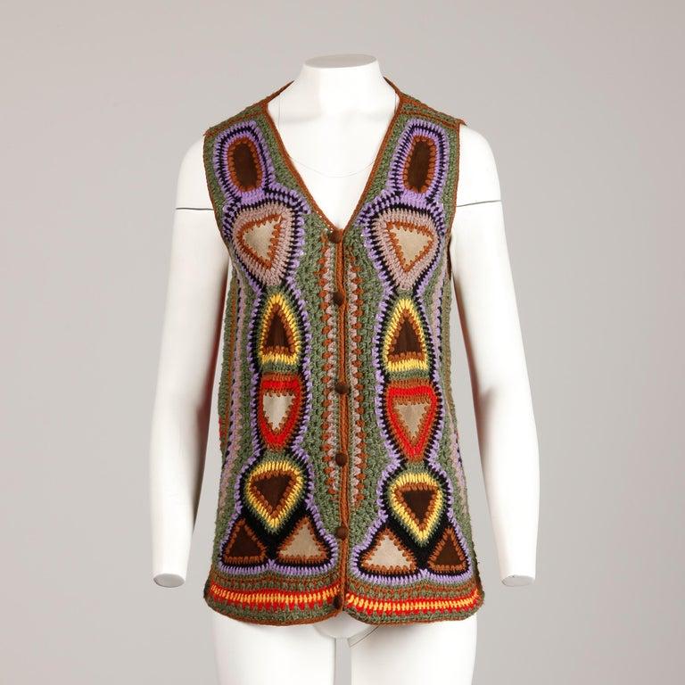 Women's or Men's Incredible 1970s Vintage Hippie Boho Crochet Wool + Suede Leather Vest Jacket For Sale