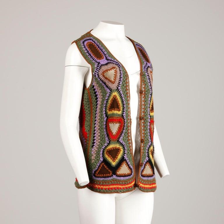 Incredible 1970s Vintage Hippie Boho Crochet Wool + Suede Leather Vest Jacket For Sale 2
