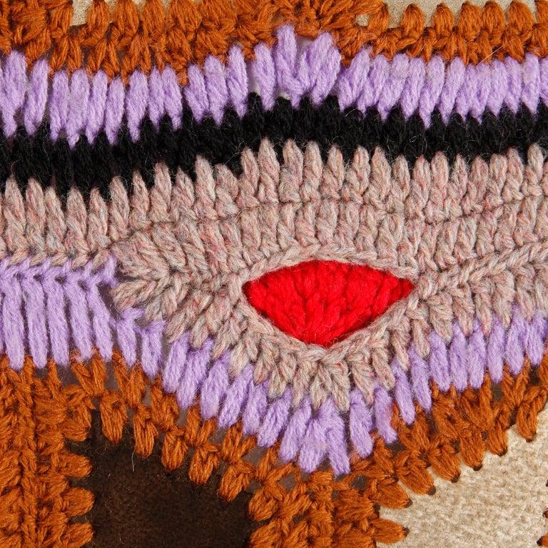Incredible 1970s Vintage Hippie Boho Crochet Wool + Suede Leather Vest Jacket For Sale 3