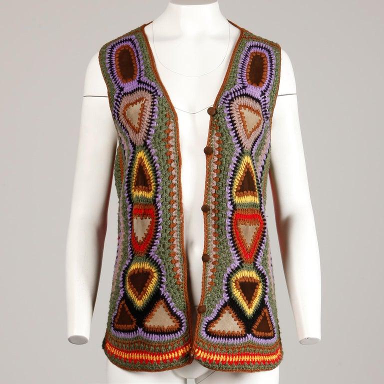 Incredible 1970s Vintage Hippie Boho Crochet Wool + Suede Leather Vest Jacket For Sale 4