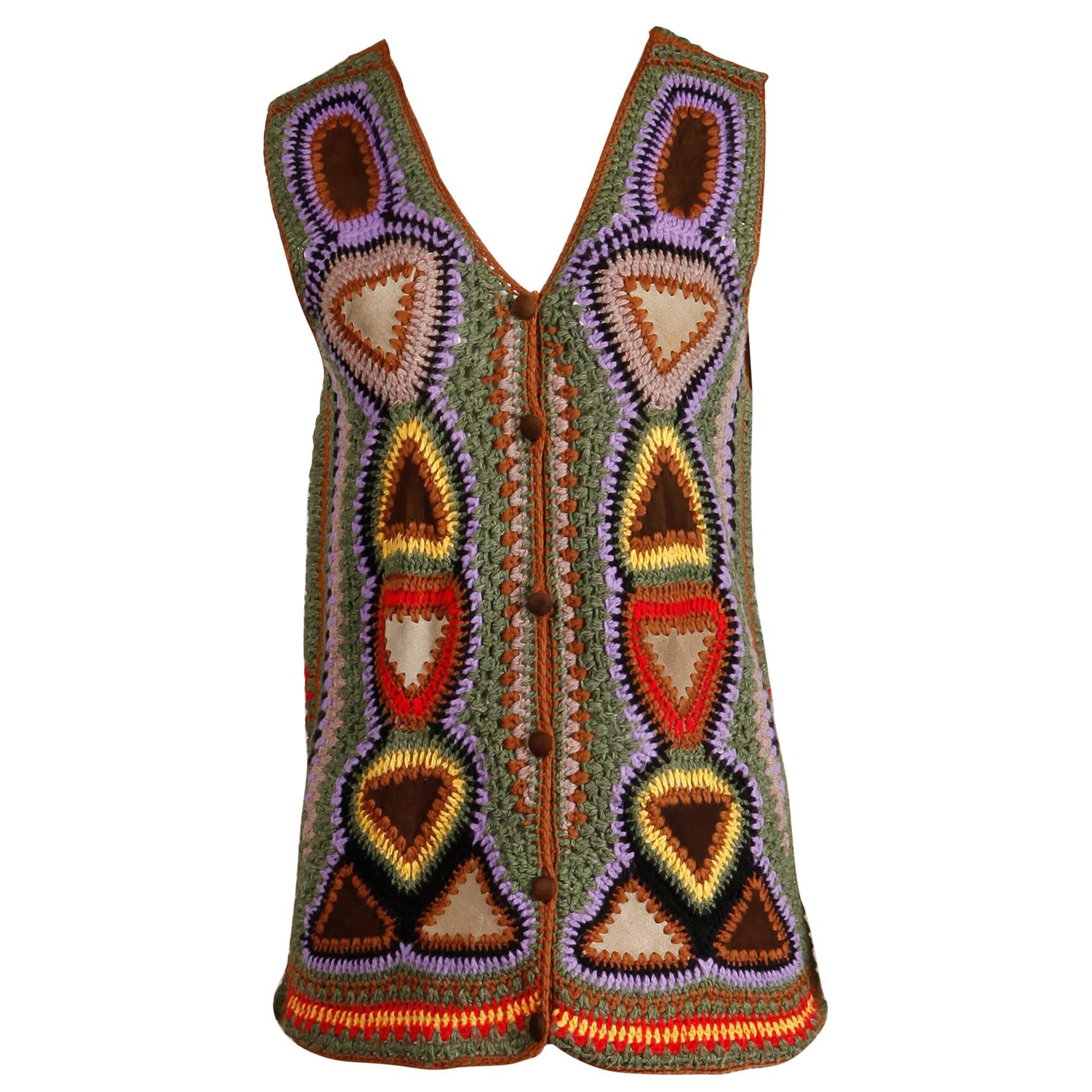 Incredible 1970s Vintage Hippie Boho Crochet Wool + Suede Leather Vest Jacket