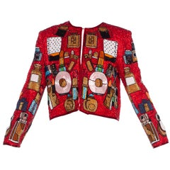 Incredible 1980's Red Beaded Jacket With Lipsticks and Perfume Bottles
