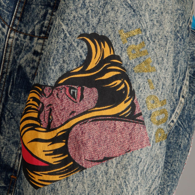 Incredible 1980s Vintage Comic Book Pop Art Acid Washed Denim Jean Jacket For Sale 6