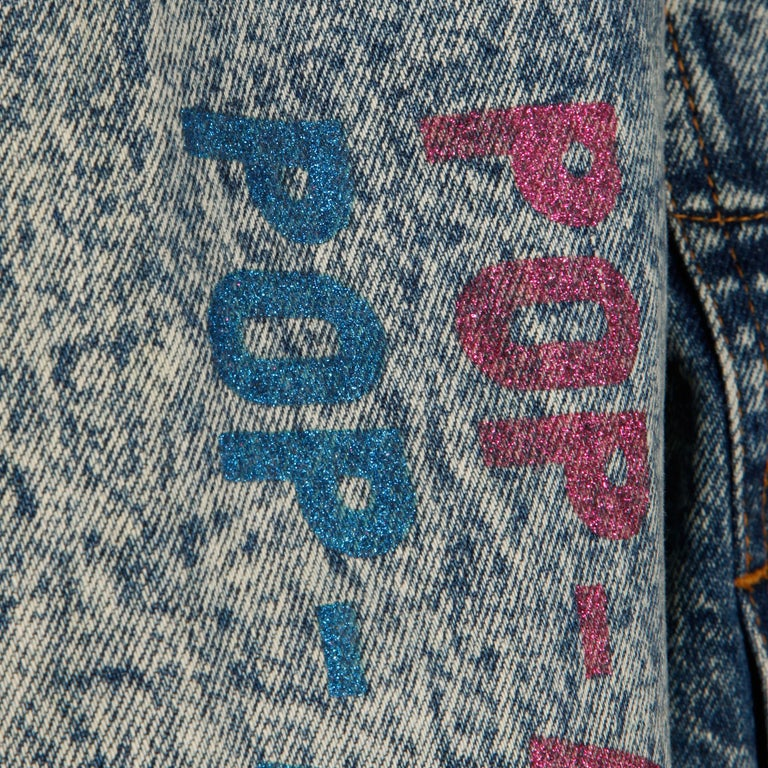Women's or Men's Incredible 1980s Vintage Comic Book Pop Art Acid Washed Denim Jean Jacket For Sale
