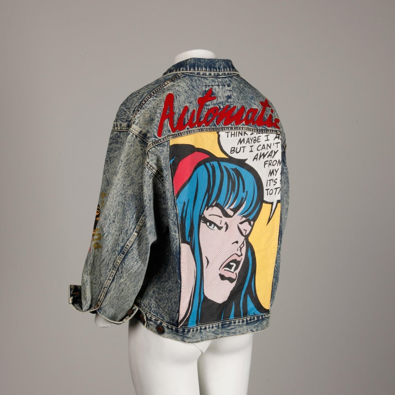 Incredible 1980s Vintage Comic Book Pop Art Acid Washed Denim Jean Jacket For Sale 1