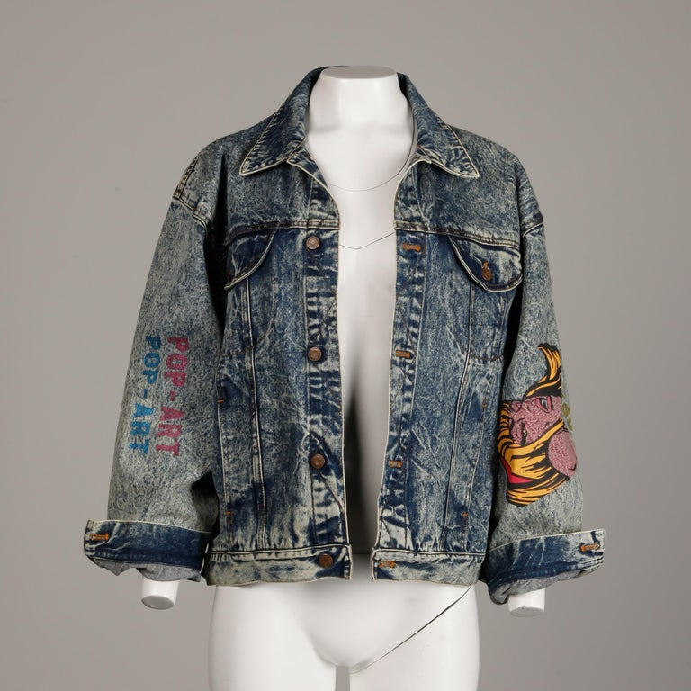 Incredible 1980s Vintage Comic Book Pop Art Acid Washed Denim Jean Jacket For Sale 3