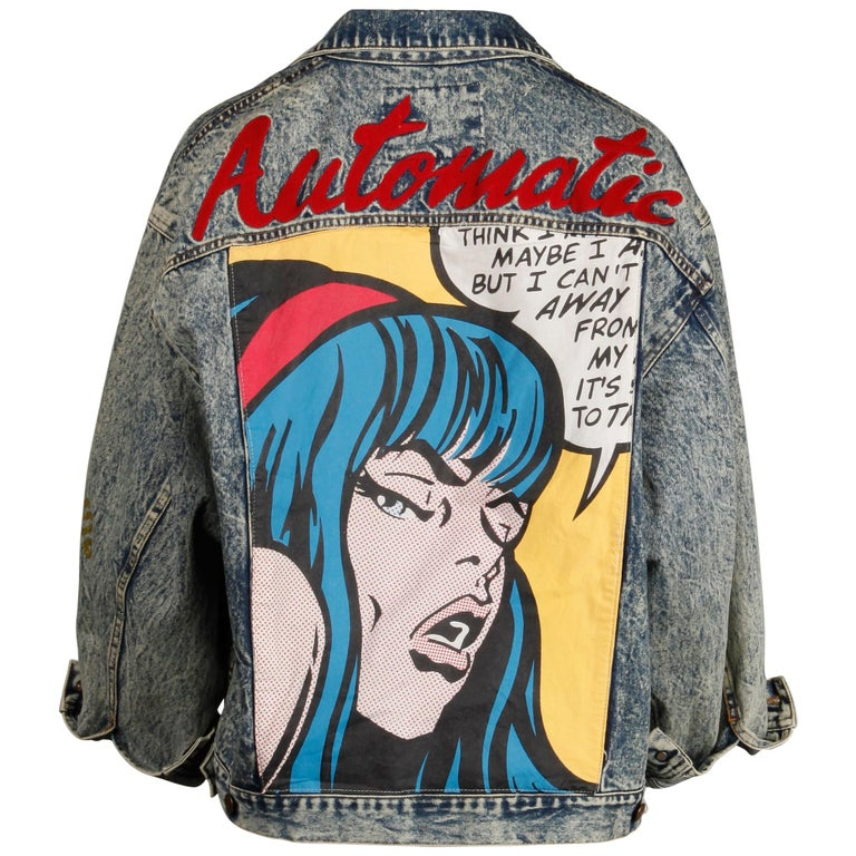 Incredible 1980s Vintage Comic Book Pop Art Acid Washed Denim Jean Jacket For Sale