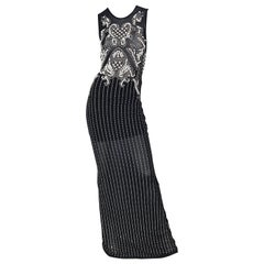 Incredible 1990s Black Pearl Rhinestone Studded Sheer Mesh Vintage Gown