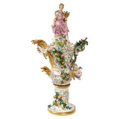 Incredible 19th Century Meissen Porcelain Covered Urn Emblematic of Autumn