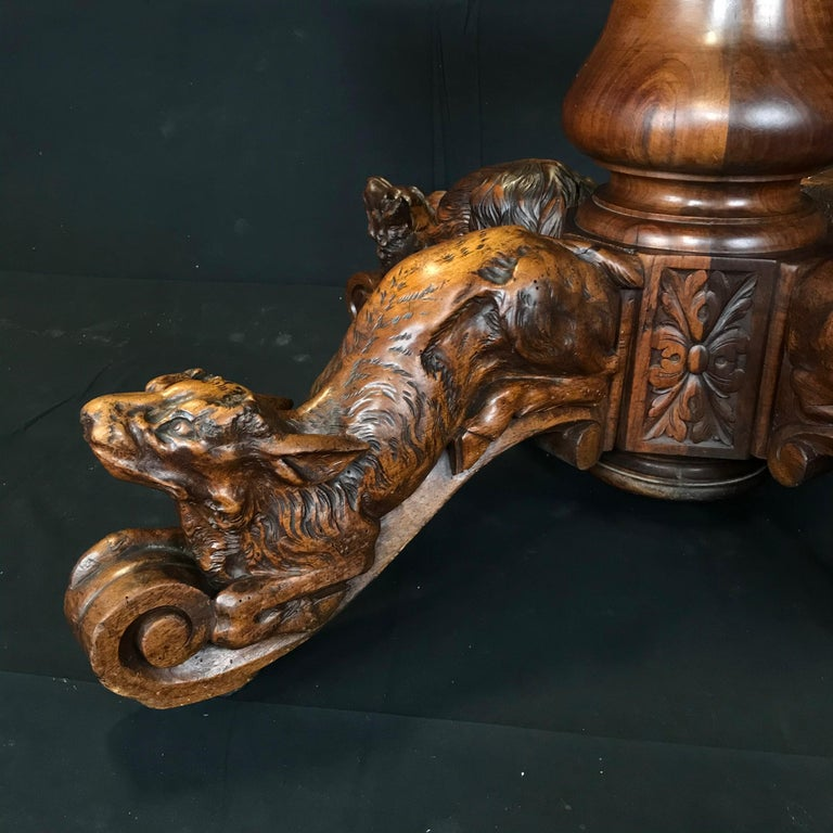 Incredible 19th Century Walnut Hunt Table with Boar, Dog, Deer and Fox For Sale 5