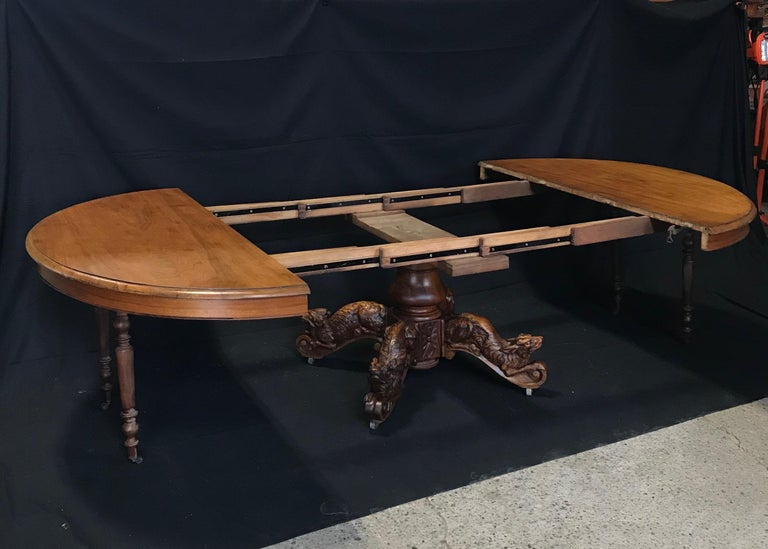 Renaissance Revival Incredible 19th Century Walnut Hunt Table with Boar, Dog, Deer and Fox For Sale