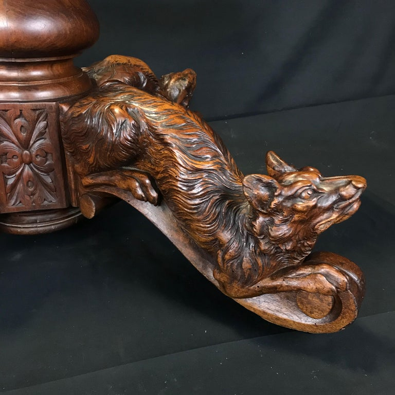 Incredible 19th Century Walnut Hunt Table with Boar, Dog, Deer and Fox For Sale 1
