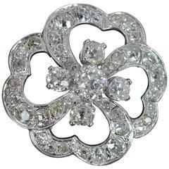 Incredible 4 Carat Old Cut Diamond 18ct White Gold French Quatrefoil Pendant