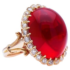 Incredible Antique Edwardian, 18 Carat Gold, Cabochon Fire Opal and Diamond C