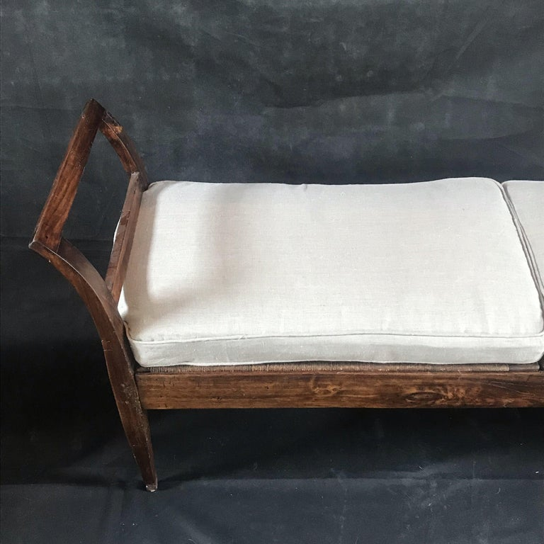 Incredible Antique Very Long Italian Walnut and Rattan Bench In Good Condition In Hopewell, NJ