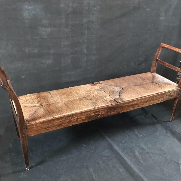 Incredible Antique Very Long Italian Walnut and Rattan Bench 1