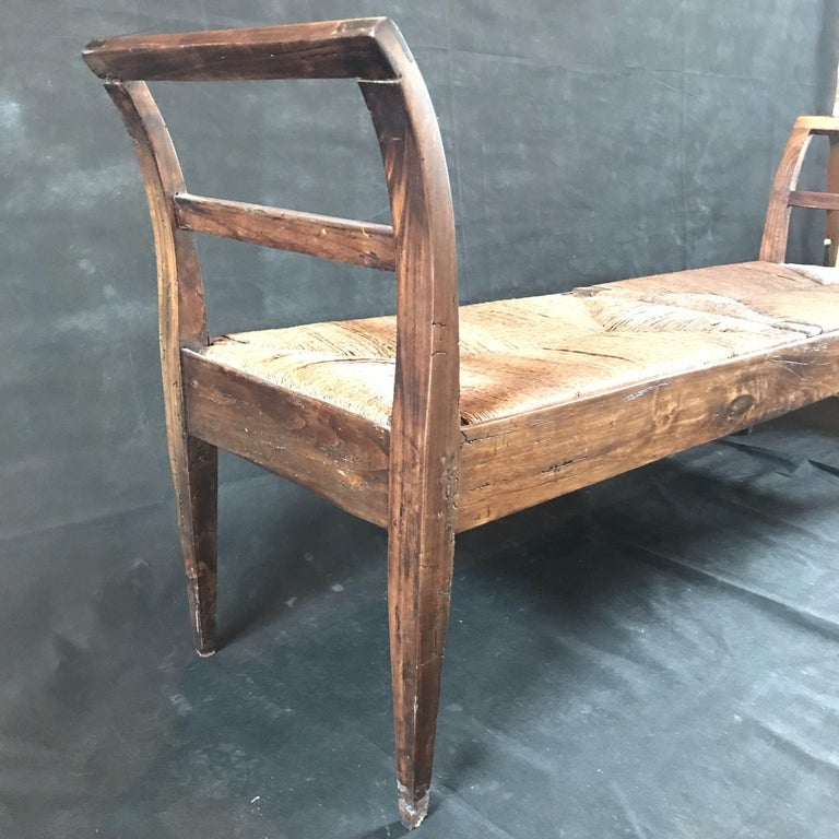 Incredible Antique Very Long Italian Walnut and Rattan Bench 3