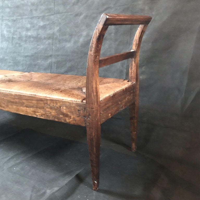 Incredible Antique Very Long Italian Walnut and Rattan Bench 4