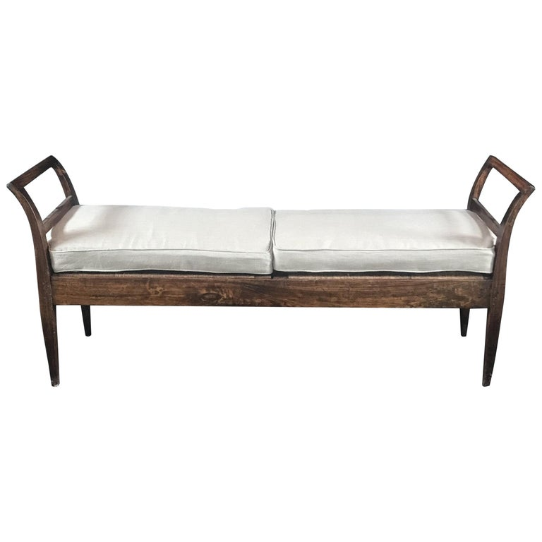 Incredible Antique Very Long Italian Walnut and Rattan Bench