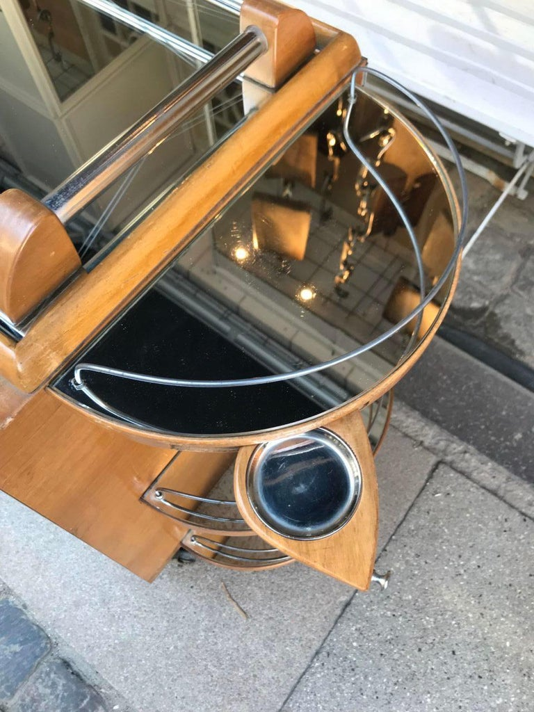 Incredible Art Deco French Bar, Serving Trolley For Sale 6