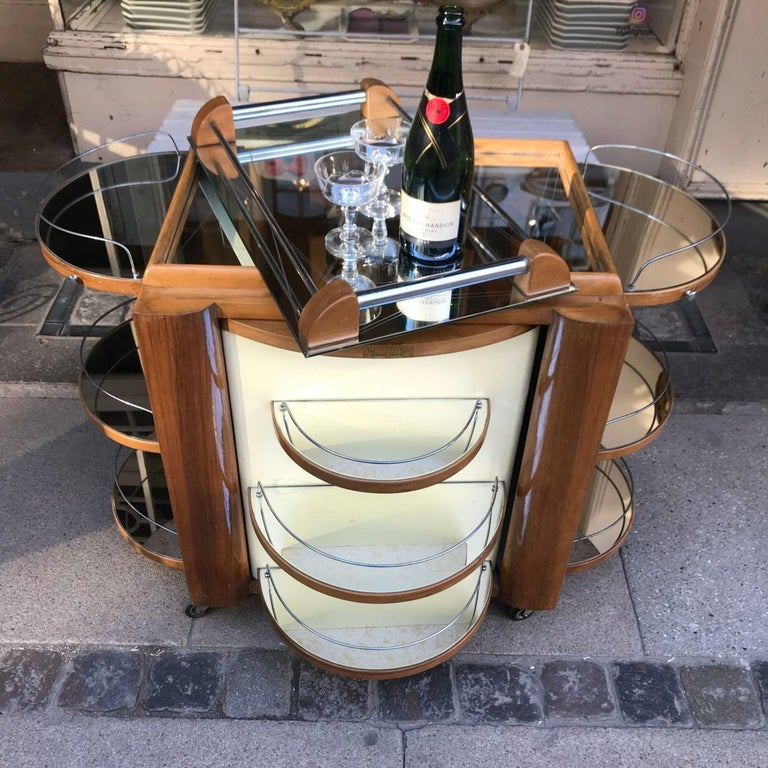 Incredible Art Deco French Bar, Serving Trolley In Good Condition For Sale In Copenhagen K, DK