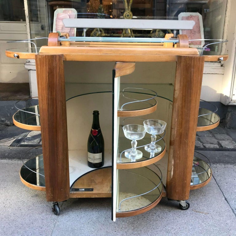 Incredible Art Deco French Bar, Serving Trolley For Sale 3