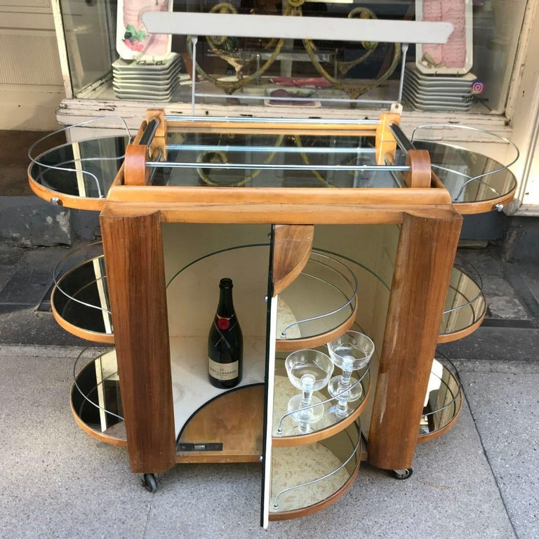 Incredible Art Deco French Bar, Serving Trolley For Sale 4