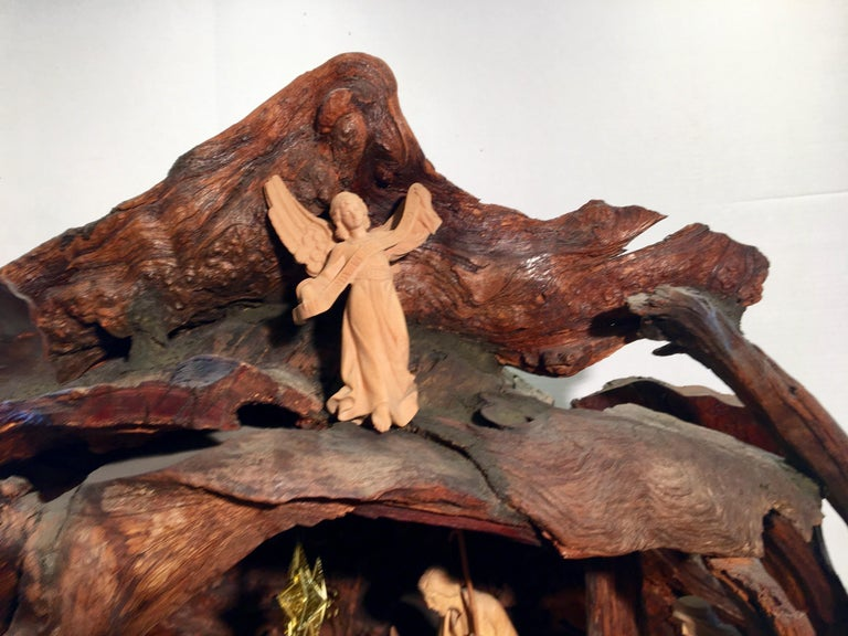 Incredible Austrian Large Hand Carved Wood Nativity Set by Artist, Peter Raser For Sale 4