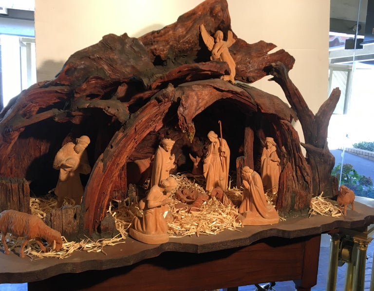 Incredible Austrian Large Hand Carved Wood Nativity Set by Artist, Peter Raser For Sale 10