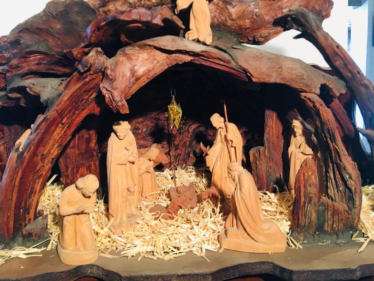 Other Incredible Austrian Large Hand Carved Wood Nativity Set by Artist, Peter Raser For Sale