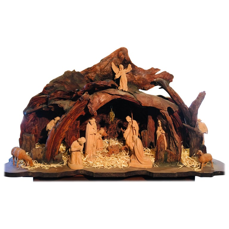 Incredible Austrian Large Hand Carved Wood Nativity Set By Artist Peter Raser