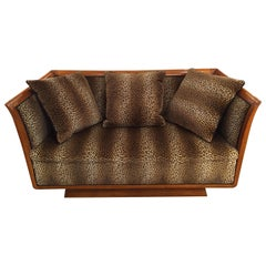 Incredible Authentic Biedermeier Sofa with New Faux Leopard Upholstery