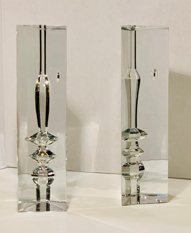 Modern Incredible Baccarat Crystal Sculptures or Bookends Rigot Encounter Man and Woman For Sale