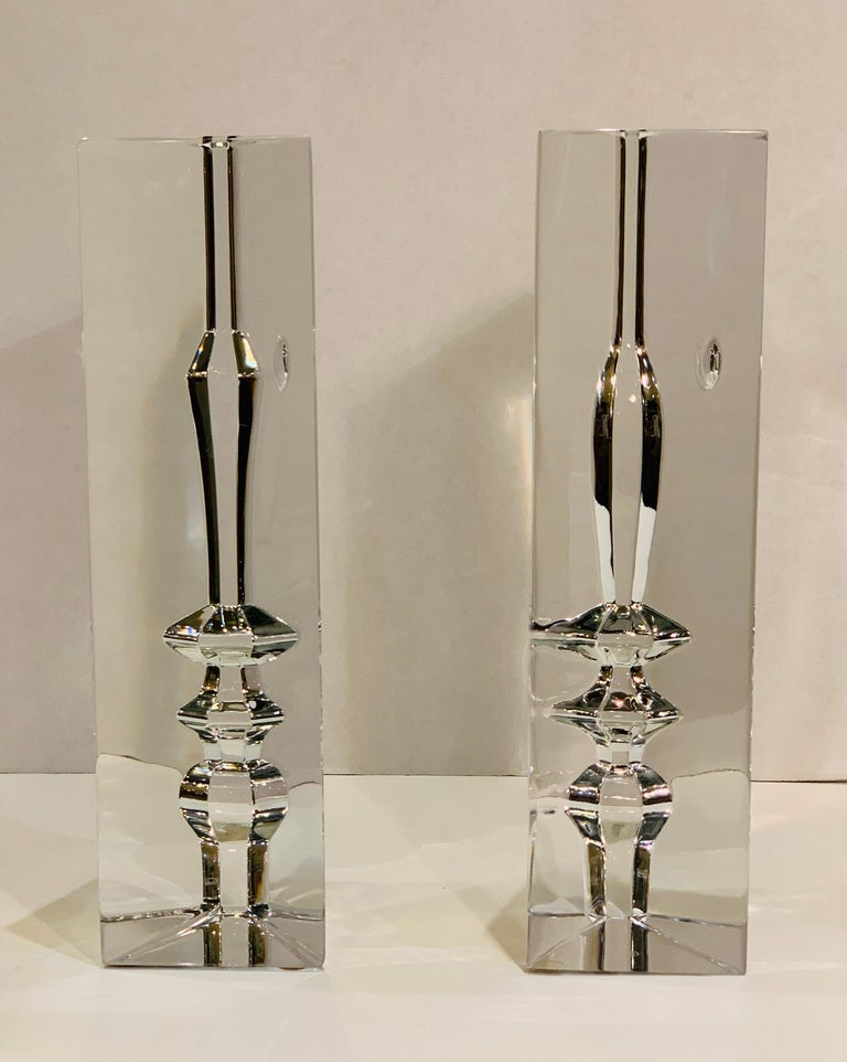French Incredible Baccarat Crystal Sculptures or Bookends Rigot Encounter Man and Woman For Sale