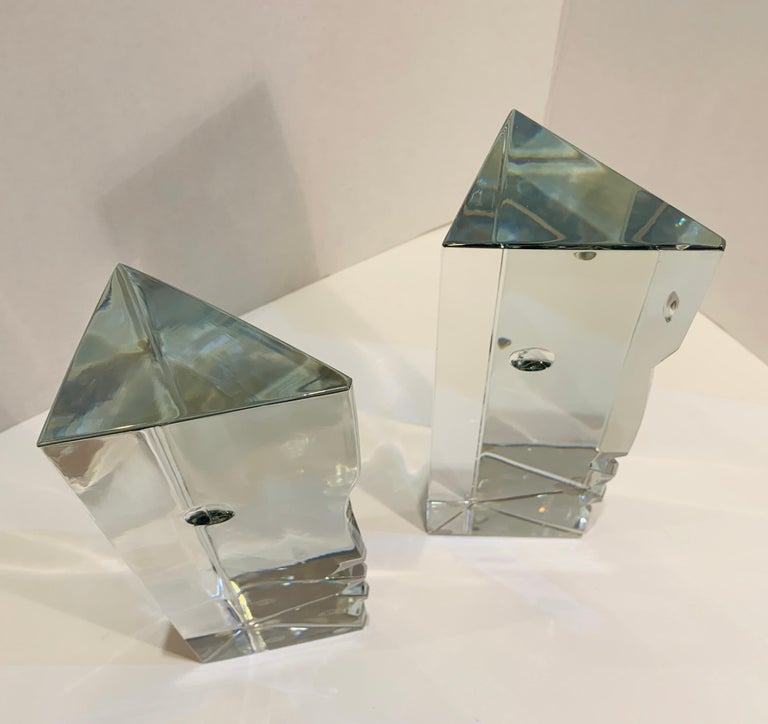 Incredible Baccarat Crystal Sculptures or Bookends Rigot Encounter Man and Woman In Good Condition For Sale In Tustin, CA