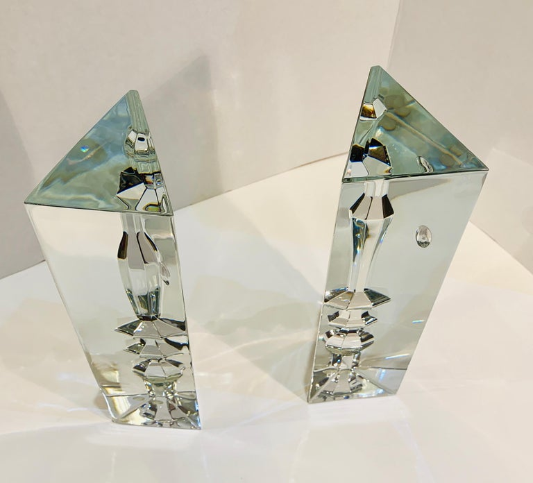 Contemporary Incredible Baccarat Crystal Sculptures or Bookends Rigot Encounter Man and Woman For Sale