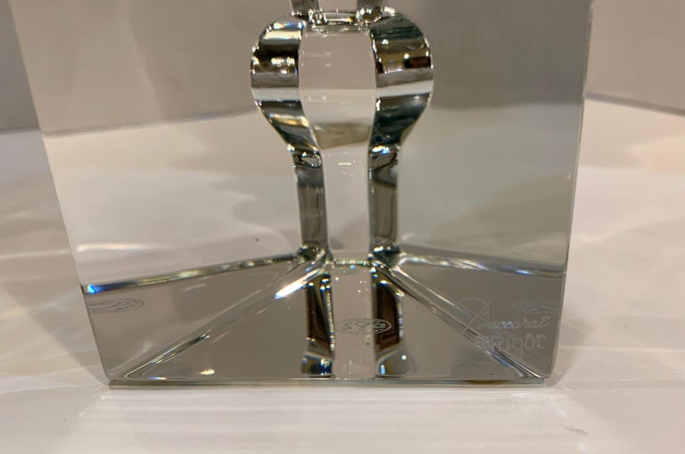 Incredible Baccarat Crystal Sculptures or Bookends Rigot Encounter Man and Woman For Sale 1