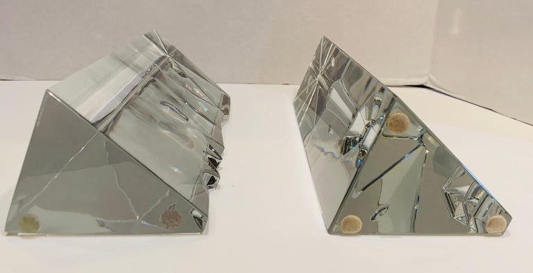 Incredible Baccarat Crystal Sculptures or Bookends Rigot Encounter Man and Woman For Sale 2