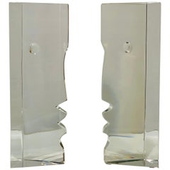 Incredible Baccarat Crystal Sculptures or Bookends Rigot Encounter Man and Woman
