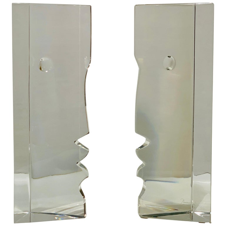 Incredible Baccarat Crystal Sculptures or Bookends Rigot Encounter Man and Woman For Sale