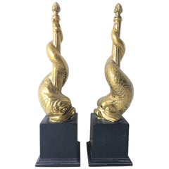 Brass Fireplace Ornament Dolphin Chenet Andirons