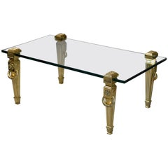 Incredible French Hollywood Regency Brass and Thick Glass Coffee Table