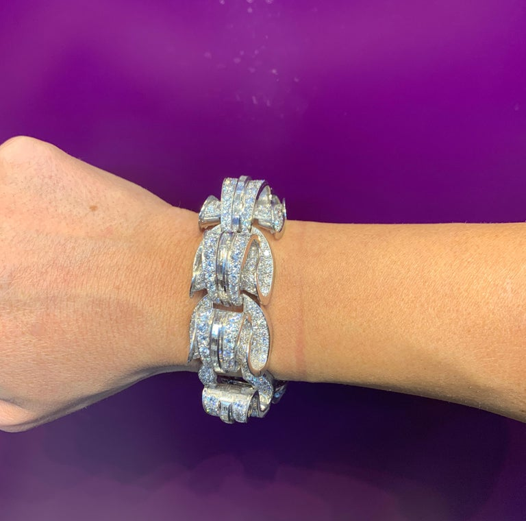 Incredible Geometric Art Deco Diamond Bracelet Very geometric and three dimensional. A masterpiece of Art Deco design and Craftsmanship.  Diamond Weight:  Approximately 40 carats Measurements: 7