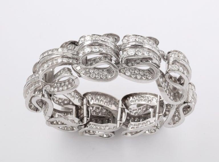 Round Cut Incredible Geometric Art Deco Diamond Bracelet For Sale