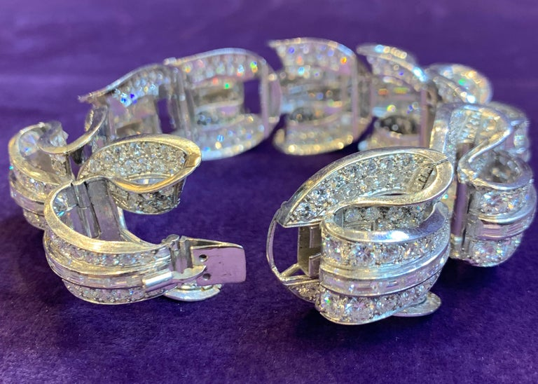 Women's Incredible Geometric Art Deco Diamond Bracelet For Sale